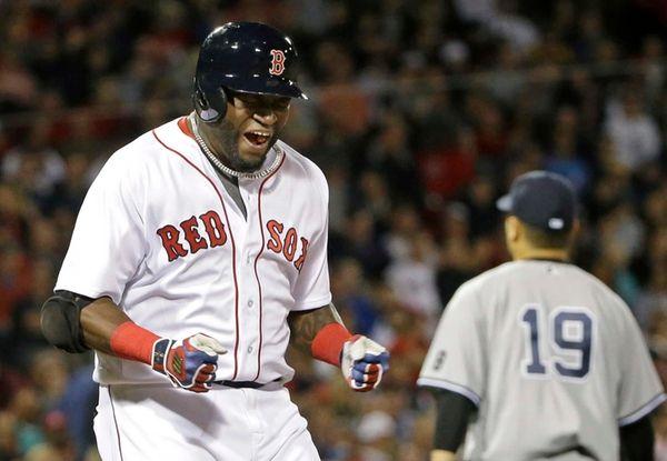 Boston Red Sox designated hitter David Ortiz reacts