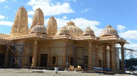 Construction continues on the BAPS temple in Melville,