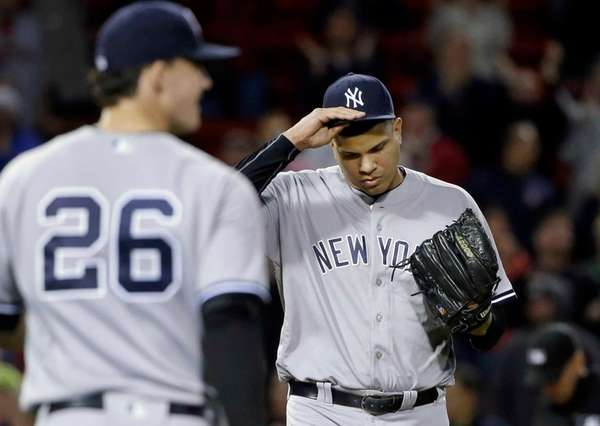 New York Yankees relief pitcher Dellin Betances, right,