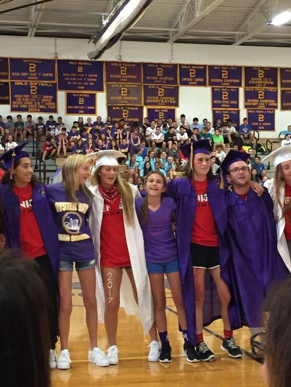 Seniors stage a graduation ceremony during their lip-sync