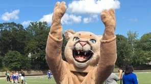 The Centereach Cougar pumps up the crowd during