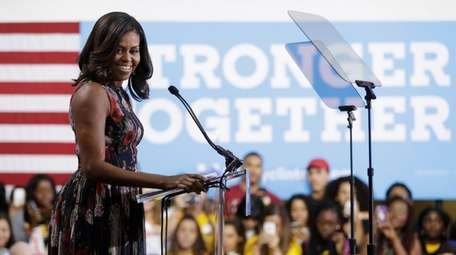 First lady Michelle Obama speaks during a campaign