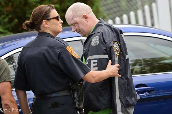 NYPD Detective Brian O'Donnell is greeted by a