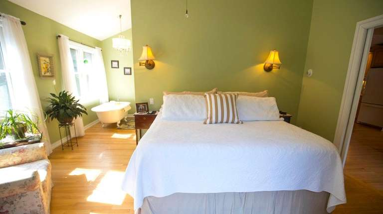 The master bedroom and a view of the