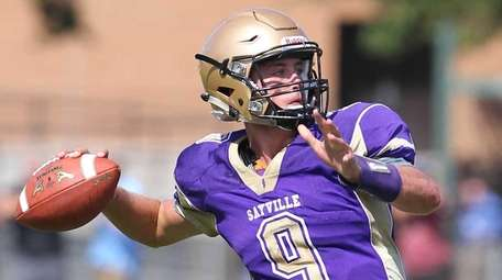 Sayville's Jack Coan gets ready to throw a