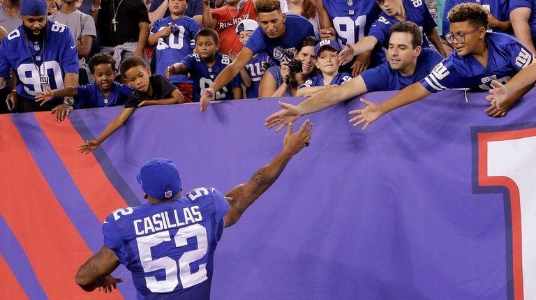 New York Giants outside linebacker Jonathan Casillas (52)