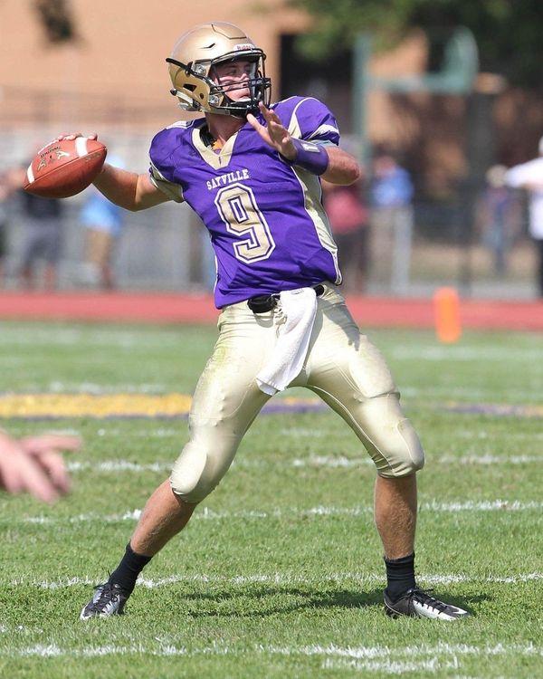 Sayville's Jack Coan (9) gets ready to throw