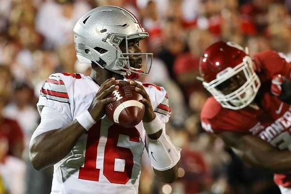 Ohio State's J.T. Barrett looks to pass against
