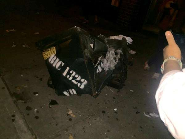 A dumpster in Chelsea is seen shortly after