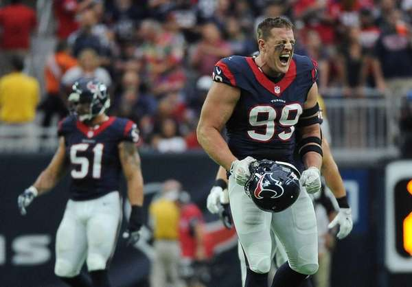 Houston Texans defensive end J.J. Watt (99) celebrates