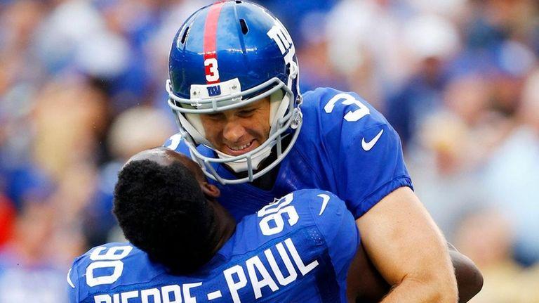 Josh Brown of the New York Giants celebrates
