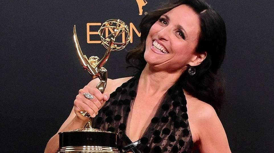 Julia Louis-Dreyfus in the press room with the
