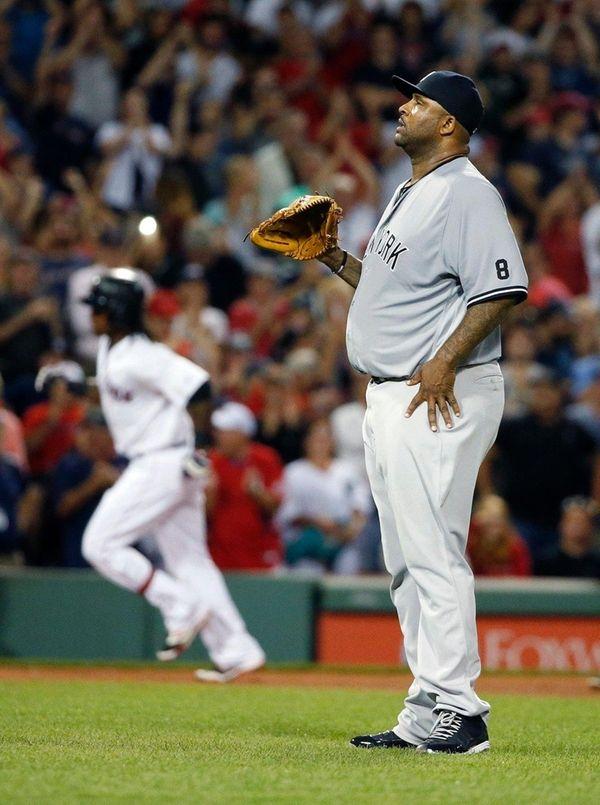 New York Yankees' CC Sabathia stands on the