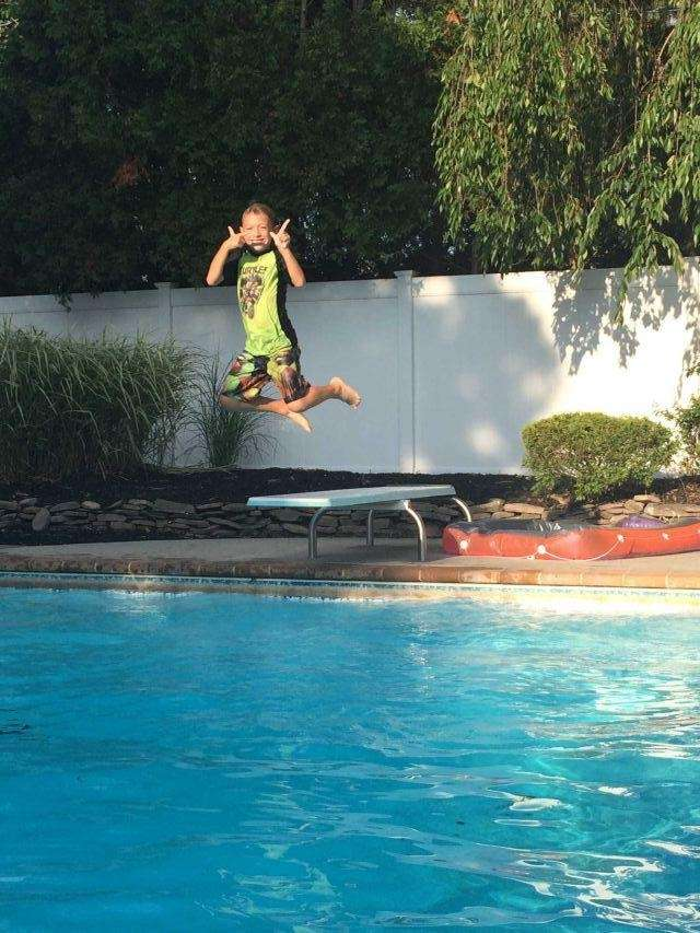Jack on the diving board at Aunt Maria