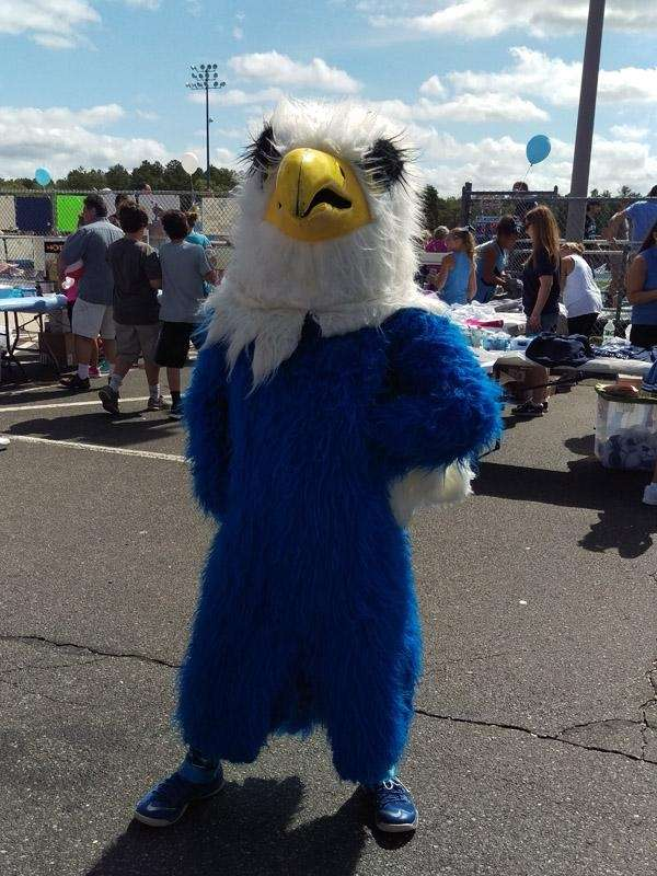 The Eagle, Rocky Point High School's mascot, strikes
