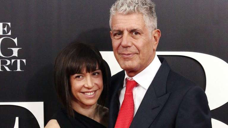 Ottavia Busia, left, and Anthony Bourdain got married