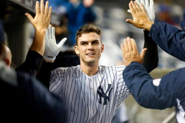 Greg Bird of the New York Yankees celebrates
