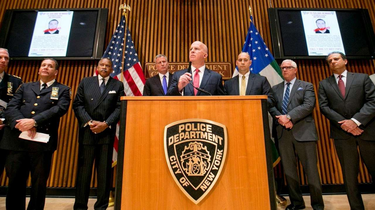 NYPD Commissioner James O'Neill speaks during a news