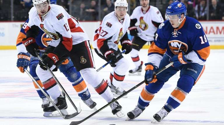 Islanders right wing Ryan Strome skates with the