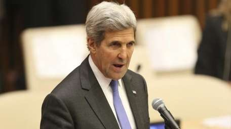 U.S. Secretary of State John Kerry speaks during