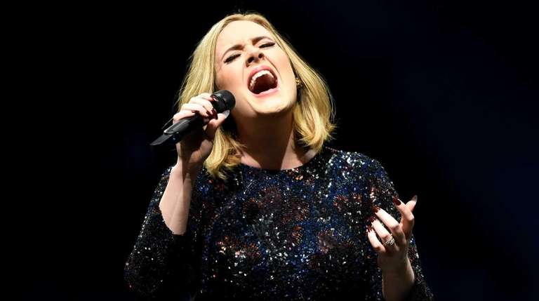 Adele performs at Manchester Arena in Manchester, England,