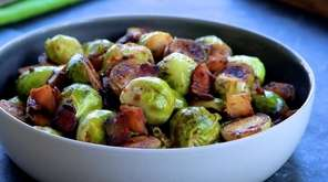 Brussels sprouts sautéed with apple and bacon