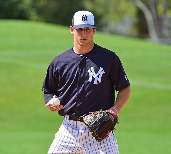 New York Yankees James Kaprielian works out with