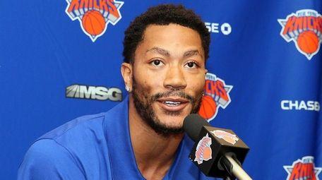 Knicks Introduce Derrick Rose at Madison Square Garden