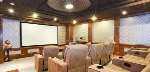 This 12-seat theater with recliner-style chairs is part