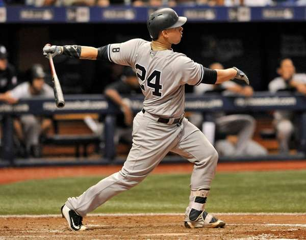 The New York Yankees' Gary Sanchez hits a