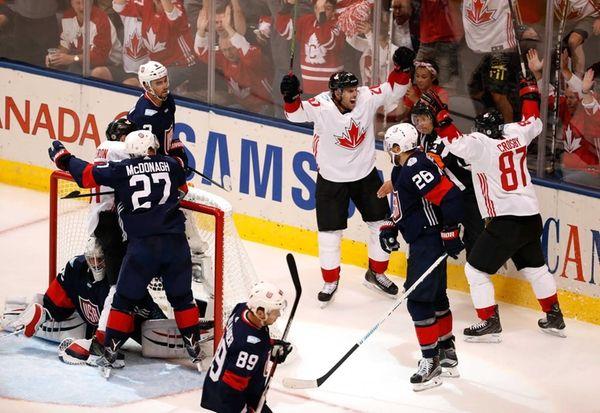 John Tavares #20 of Team Canada celebrates his