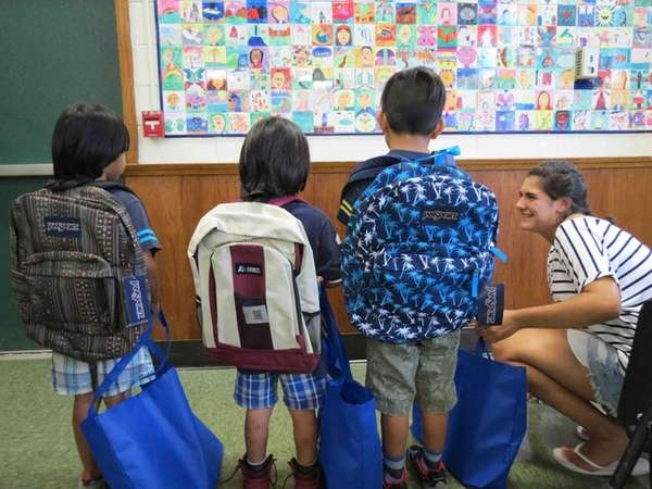 Westhampton Beach Elementary School students show off the