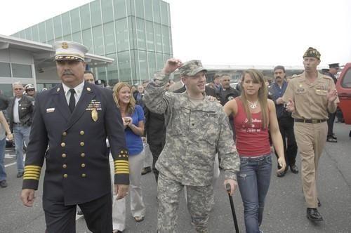 Christopher Levi arrives at the Long Island MacArthur