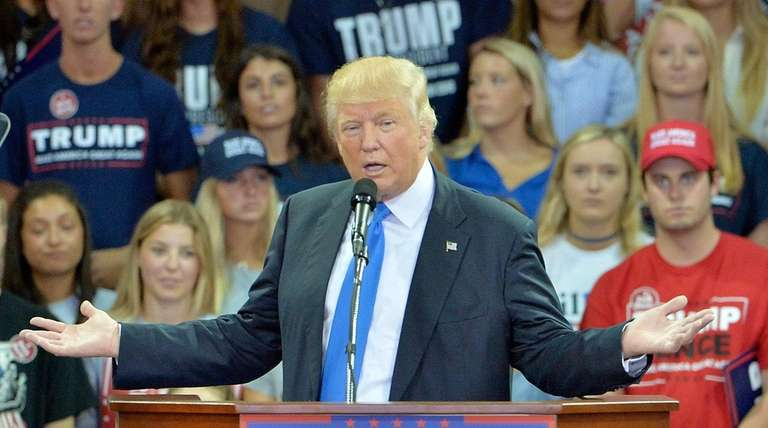 Republican presidential nominee Donald Trump speaks during a