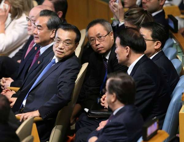 Chinese Premier Li Keqiang, second from left, at
