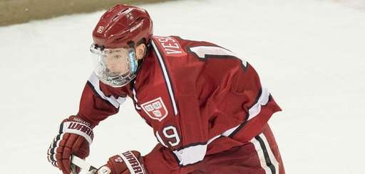 Harvard forward Jimmy Vesey in action during the