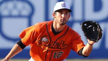 Long Island Ducks' Shortstop Dan Lyons in a