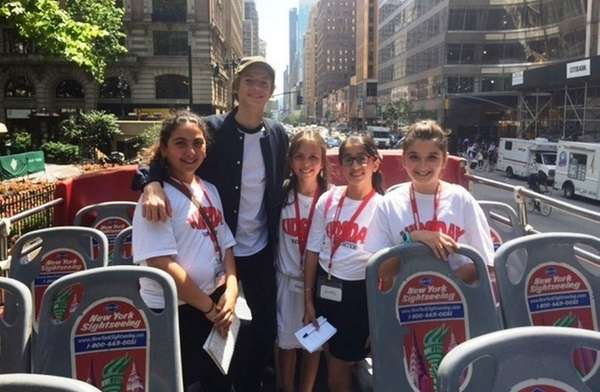 Actor Jace Norman with Kidsday reporters, from left,