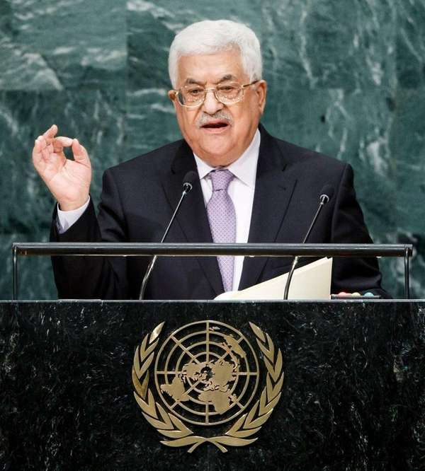 Palestinian Authority President Mahmoud Abbas speaks during the