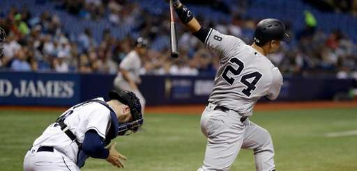New York Yankees' Gary Sanchez strikes out on