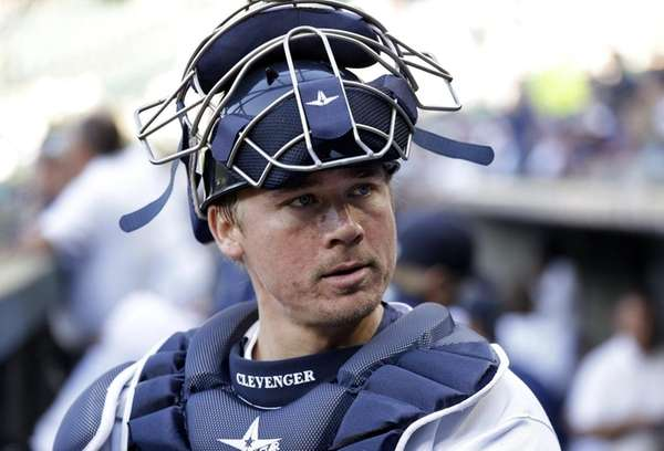 Seattle Mariners catcher Steve Clevenger looks out of