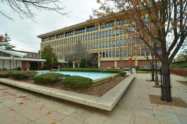 Hempstead Town Hall Plaza courtyard in the fall,