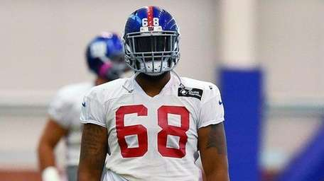 New York Giants offensive tackle Bobby Hart (68)