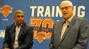 Phil Jackson, Knicks president, right, alongside general manager