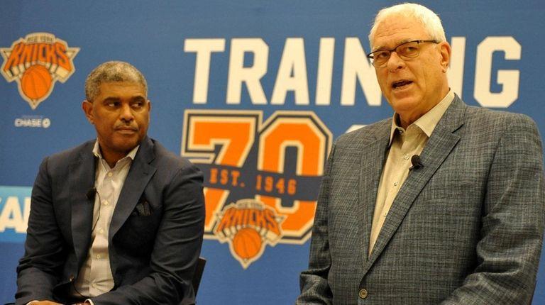 Phil Jackson, Knicks president, right, alongside general manager