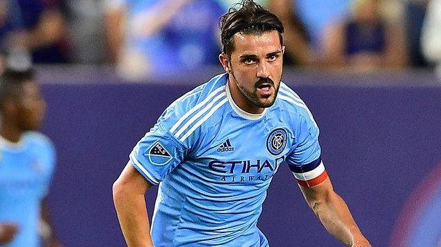 New York City FC forward David Villa chases