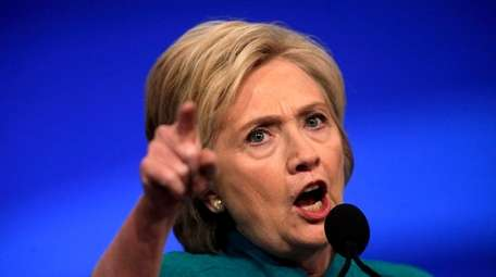 Democratic Party presidential candidate Hillary Clinton addresses the