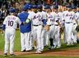 New York Mets manager Terry Collins congratulates Yoenis
