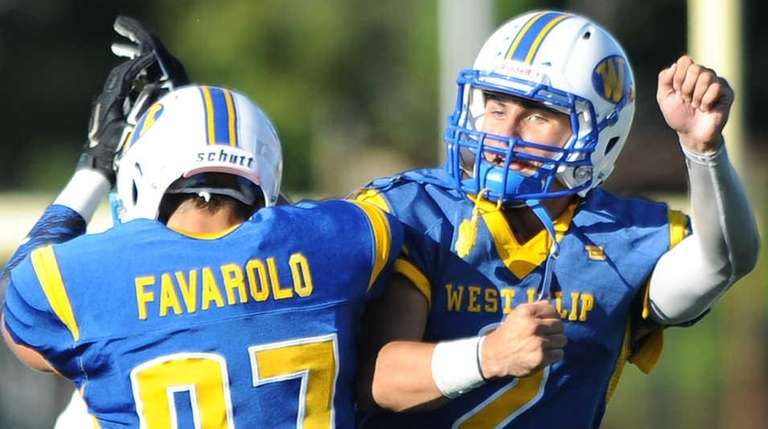 West Islip's Jake Guercio, right, and West Islip's