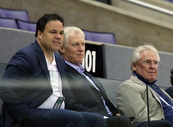Jeff Gorton, Jim Schoenfeld and Glen Sather watch